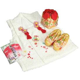 七五三 3歳から5歳用 正絹被布草履きんちゃくセット 草履金襴地 被布白地 足袋付きセット 日本製