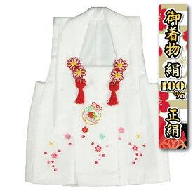 七五三 正絹 被布 着物 3歳 白 刺繍鈴 桜 ひな祭り お正月 日本製