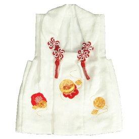 七五三 正絹被布 着物 3歳 白 本梅絞り 金コマ刺繍まり ひな祭り お正月 地紋生地 日本製