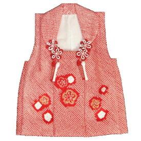 f90960d8e3138 七五三 正絹被布 着物 3歳 赤色 総本手絞り 梅華 金コマ刺繍