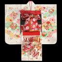 七五三 着物 7歳正絹着物フルセット 白地三色ぼかし染め分け 雪輪 金彩使い 赤色重ね仕立て帯セット 足袋に腰…
