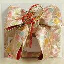 七五三着物用祝い帯 7歳用 ベージュピンク 桜有職文様 飾り紐付き 大サイズ 日本製