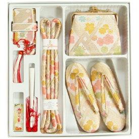七五三着物7歳用 筥迫セット ハコセコセット ベージュピンク 桜有職文様 草履バッグ6点セット 日本製