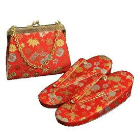 7歳用 七五三に最適な草履バッグセット 赤色地 宝尽くし文様 日本製