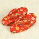 七五三 草履単品 3歳用 赤地色 宝尽くし文様 かかと鈴使い 小サイズ 日本製
