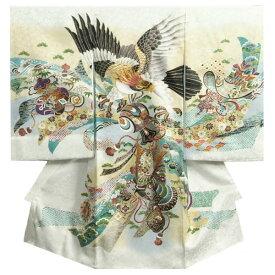 お宮参り 着物 男の子 正絹男児初着 白 ボカシ染め分け 冠鷲 熨斗 金糸刺繍使い 桜地紋