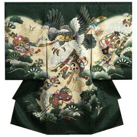 お宮参り 着物 男の子 正絹初着 男の子用産着 濃緑色 光琳松 金糸刺繍鷹 金彩 サヤ地紋