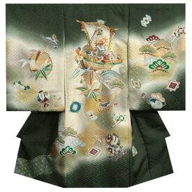 c1985566a2dae お宮参り 着物 男の子 正絹初着 濃緑 宝船 刺繍使い 金銀彩紋流れ サヤ