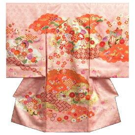 お宮参り 着物 女の子 赤ちゃん 正絹初着 桜色 橙雲取配色 几帳文様 刺繍使い 金彩 日本製