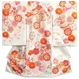 お宮参り 着物 女の子正絹初着 白 捻り梅 四季桜 まり 金コマ刺繍 サヤ地紋 日本製