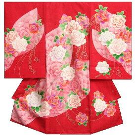 お宮参り 着物 女の子 正絹女児初着 女の子用産着 赤 レインボーローズ 刺繍使い ジルコニア 金通し生地