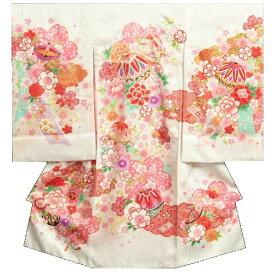 お宮参り 着物 女の子 正絹初着 白 ぼかし染め まり 糸巻き 金コマ刺繍使い 桜地紋生地 日本製
