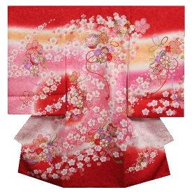 お宮参り 着物 女の子 正絹初着 赤ピンクグラデーション 鈴 桜尽くし 金彩 金コマ刺繍 桜地紋 日本製