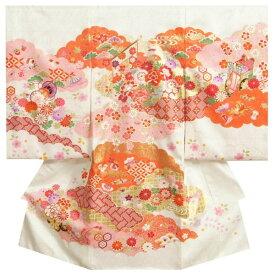 お宮参り 着物 女の子 正絹 女の子用産着 白色 橙雲取配色 几帳 刺繍使い 金彩 日本製