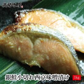 送料無料 銀鮭 小切れ 西京漬け 1kg 500g×2 ご家庭で簡単に 西京焼き ができる