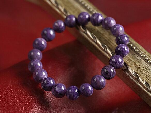 京珠堂 ストレス解消 精神の安定 上質の紫マーブル色 最極上SA 世界三大ヒーリングストーン 紫龍晶 チャロアイト 10mm 天然石 パワーストーン ブレスレット B647