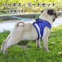 ハーネス 小型犬 中型犬 リード セット お散歩 グッズ ワンちゃん 用 胴輪 反射板 夜 マジックテープ 可愛い 愛犬グッ…