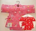 女児子供甚平 リップル 花 うさぎ<日本製 国内リップル加工 国内染色生地 国内縫製 コットン100 綿100>子供…