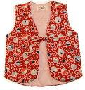 女児子供そでなしはんてん 富士山に唐草<日本製 国内縫製 コットン100 綿100>子供用 女の子 80 90 100 110 キッズ おみやげ…