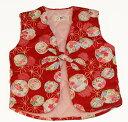 女児 子供 袖なし はんてん 麻の葉に花の丸<日本製 国内縫製 コットン100 綿100>子供用 女の子 80 90 100 110キッズ 家で洗濯…