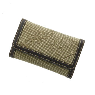 PRADA 6-double hook key case canvas / leather unisex