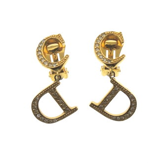CHRISTIAN DIOR brand logo earrings Lady's