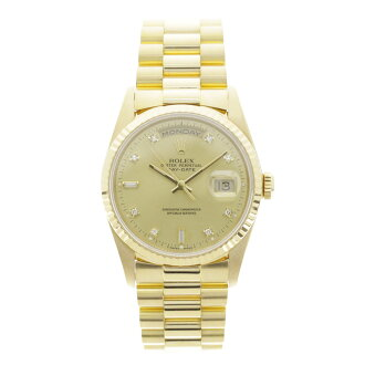 ROLEX18238A Oyster Perpetual Day-date 10 P diamond watch YG men's fs3gm