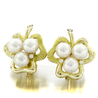Pearl and diamond earrings K18 yellow gold ladies