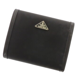 Folio wallet (there is a coin purse) nylon X leather Lady's with the PRADA ribbon motif logo plate