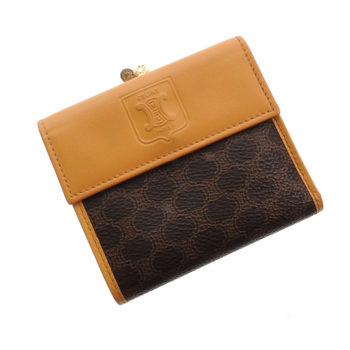CELINE【セリーヌ】 ガマグチ ロゴ型押 二つ折り財布(小銭入れあり) PVCxレザー レディース 【中古】