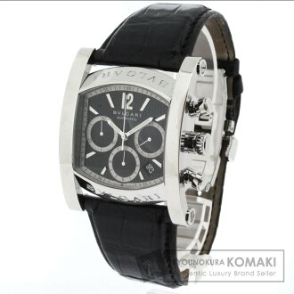 Authentic BVLGARI AA48CH Assioma Watch stainless steel Alligator Mechanical Automatic Men