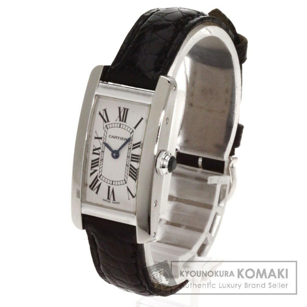 CARTIER タンクアメリカンSM 腕時計 K18ホワイトゴールド/アリゲーター レディース 【中古】【カルティエ】