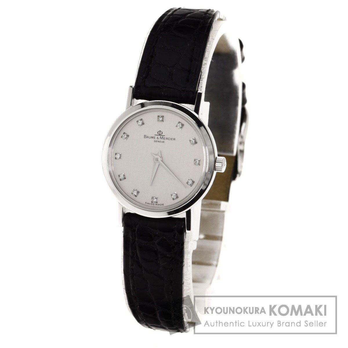 Baume & Mercier 12Pダイヤモンド 腕時計 OH済 K18ホワイトゴールド/革/クロコダイル レディース 【中古】【ボーム&メルシェ】