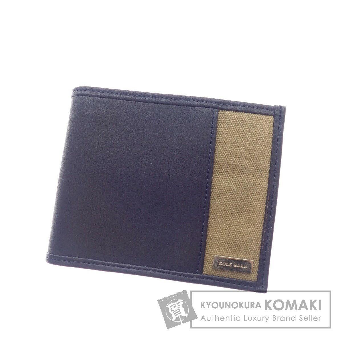Cole Haan ロゴモチーフ 二つ折り財布(小銭入れあり) レザー/キャンバス メンズ 【中古】【コールハーン】