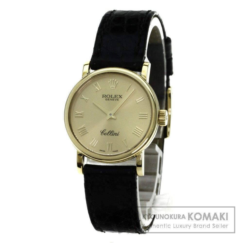 ROLEX 6110 チェリーニ 腕時計 K18イエローゴールド/アリゲーター レディース 【中古】【ロレックス】