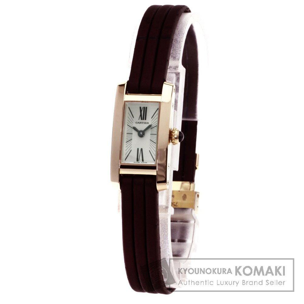 CARTIER W1537338 タンクアロンジェラニエール 腕時計 K18ピンクゴールド/サテン レディース 【中古】【カルティエ】