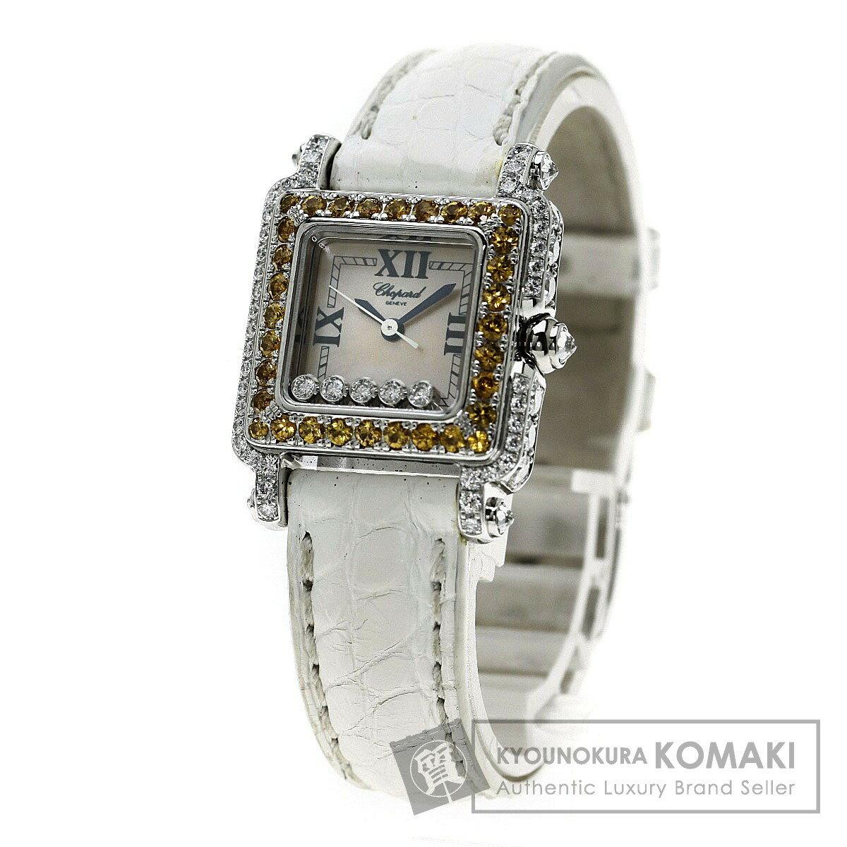 Chopard 27/6852 ハッピースポーツ 腕時計 K18ホワイトゴールド/革 レディース 【中古】【ショパール】