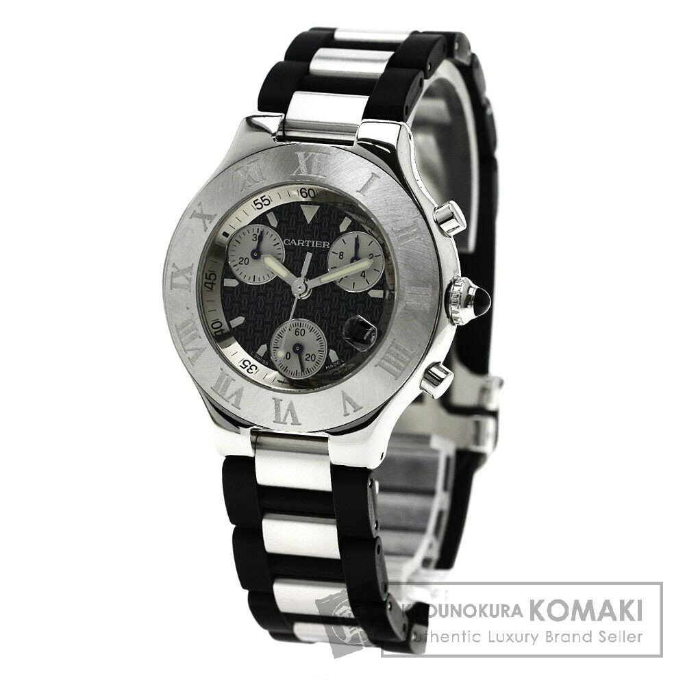 CARTIER W10125U2 クロノスカフ 腕時計 ステンレス/ラバー メンズ 【中古】【カルティエ】