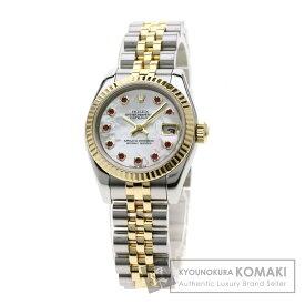 ロレックス 179173NGR デイトジャスト/10Pルビー 腕時計 ステンレススチール/SSxK18YG レディース 【中古】 【ROLEX】