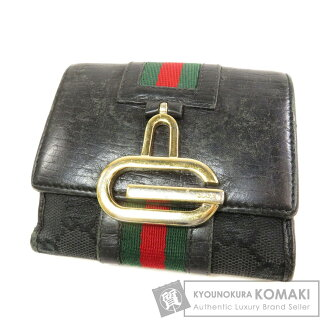 89889c018b951f Authentic GUCCI 131849 Logo motif Bifold Wallet with Coin Pocket Canvas  Leather
