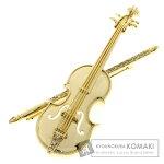 0.14ct ダイヤモンド バイオリン ブローチ K18イエローゴールド 13.5g レディース 【中古】