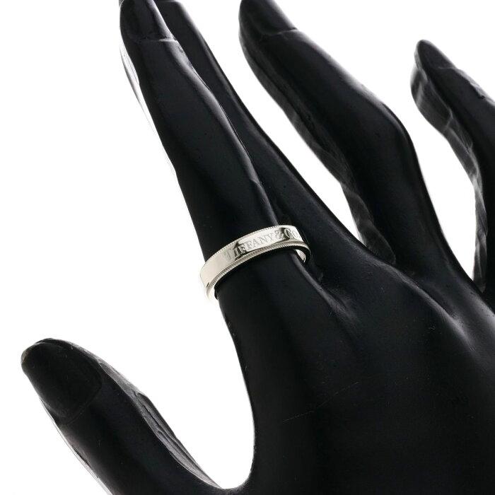 ティファニー ミルグレインバンド 4mm リング・指輪 プラチナPT950 レディース 【中古】【TIFFANY&Co.】