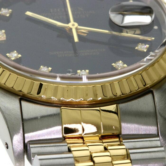 ロレックス 16233G デイトジャスト 10Pダイヤモンド 腕時計 OH済 ステンレススチール/SSxK18YG メンズ 【中古】【ROLEX】