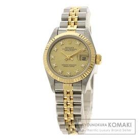 ロレックス 69173G デイトジャスト 10Pダイヤモンド 腕時計 OH済 ステンレススチール/SSxK18YG/K18YG レディース 【中古】【ROLEX】