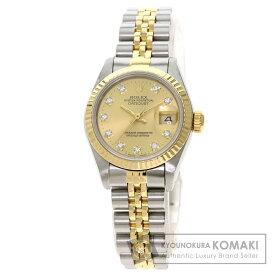 ロレックス 69173G デイトジャスト 10P ダイヤモンド 腕時計 ステンレススチール/SSxK18YG/K18YG レディース 【中古】【ROLEX】