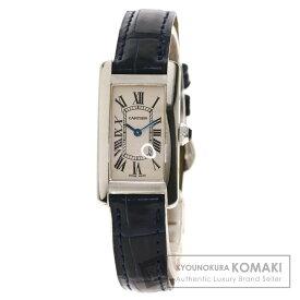 カルティエ W2601956 タンクアメリカンSM 腕時計 K18ホワイトゴールド/革 レディース 【中古】【CARTIER】