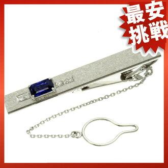 SELECT JEWELRY Sapphire tie pin Platinum /K14 gold mens