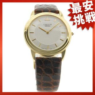 SEIKO credor 8J80-7020 watch YG leather mens