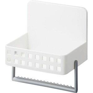 (まとめ) 洗剤ラック/キッチン収納 【マグネット式】 タオルハンガー・吸盤付き ホワイト 『Mag-On』 【24個セット】