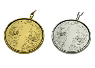 Swaying in the chest with traditional Japanese mirror magic mirror pendant classic (gold or silver)